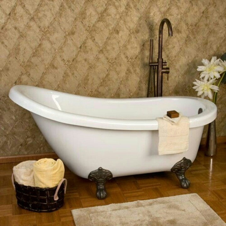 55 best bathtub images on pinterest bathroom half for Slipper tub bathroom design