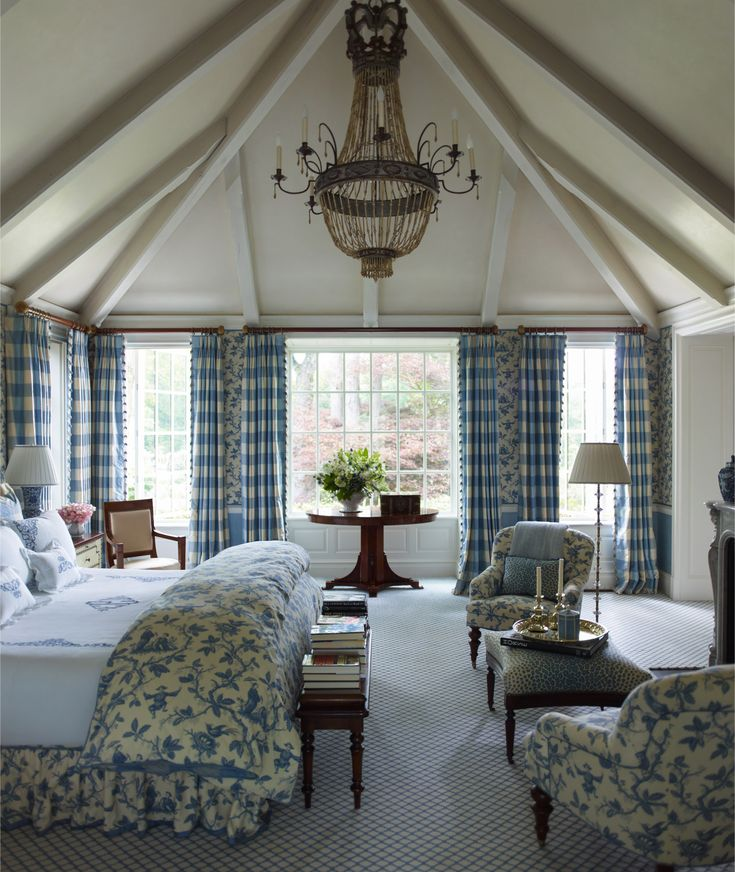 French Flair in Connecticut....OH, what a room..the size, the windows, the blue bedding/drapes....love it all . . .