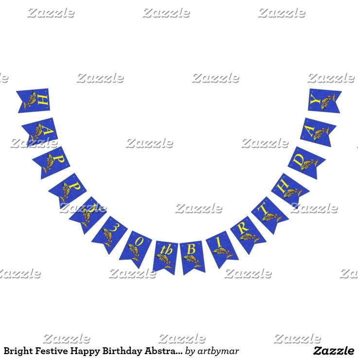 Bright Festive Happy Birthday Abstract Fish Bunting Flags