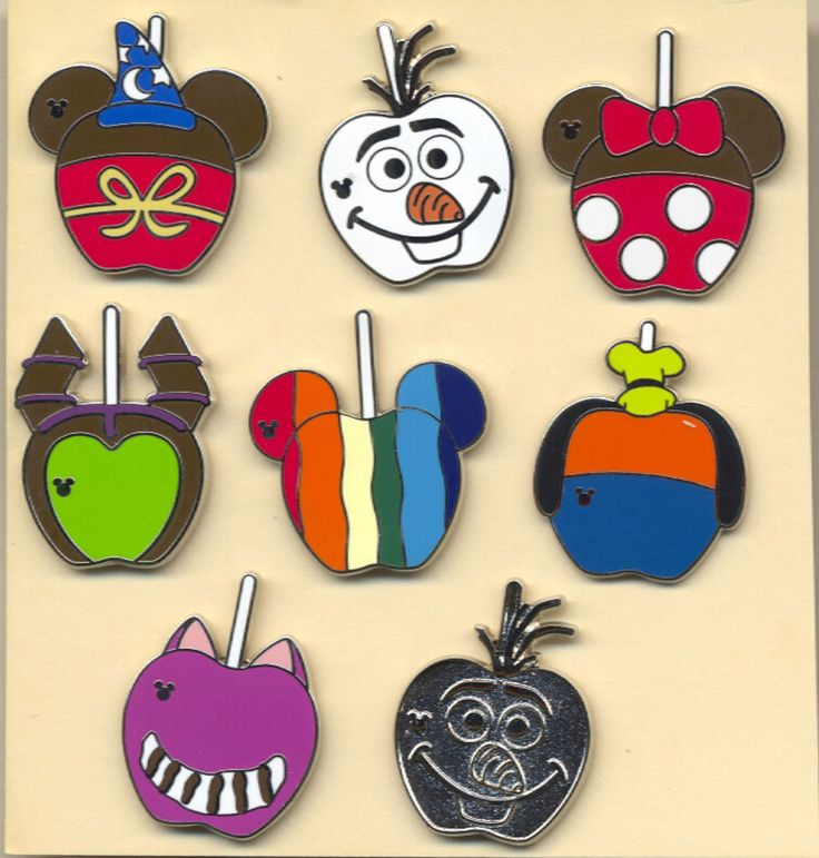 H 719 DISNEY 2015 WAVE A 8 HIDDEN MICKEY PINS WITH CHASER CHARACTER APPLES