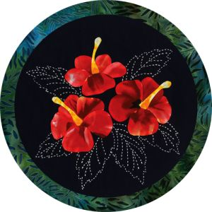 A beautiful marriage of Japanese sashiko and appliqué! The Hibiscus is the state flower of Hawaii. Each fabric kit includes: - Kona cotton indigo background fabric - Batik and other cotton fabrics for