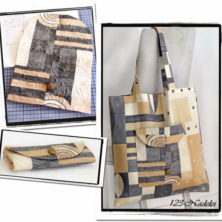 Falttasche aus Übergardine mit Quilt-Außentasche; Upcycling Shopping Bag