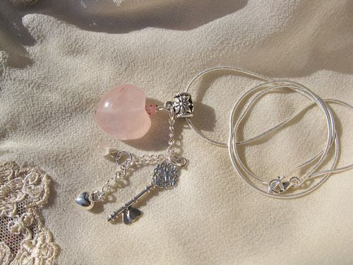 The key to my heart? (Silver key and heart combined with a Rose Quartz gem - the Love stone)