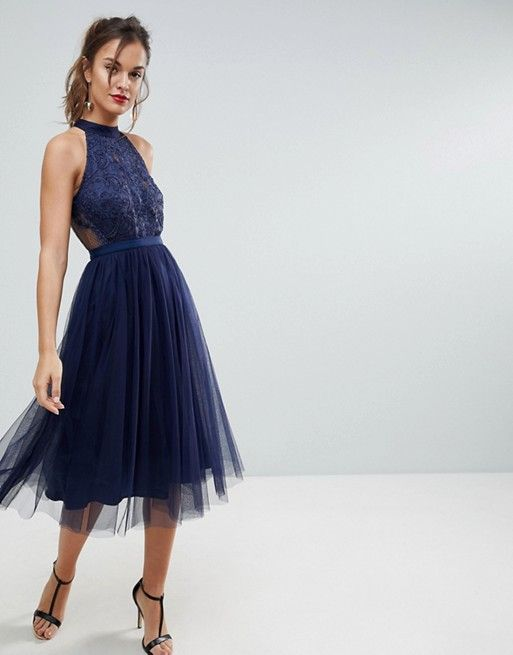 74956809d186 ASOS   ASOS Lace Tulle Pleated Midi Scallop Dress