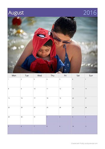 Calendar template colory with purple colours