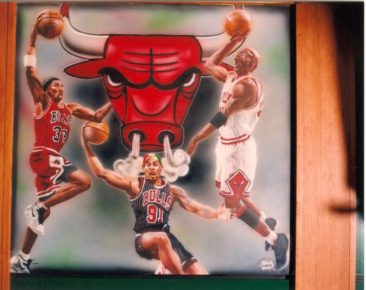 The Chicago Bulls! Jordan. Airbrushed mural. 4x4
