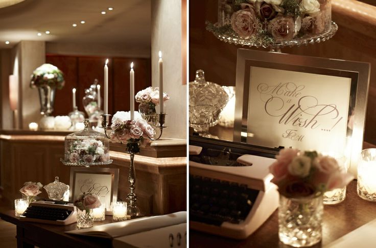 The exquisite Make a wish corner!Cute crustal vases with baby roses, silver candelabras and a mini type writter!Vintage Chic!