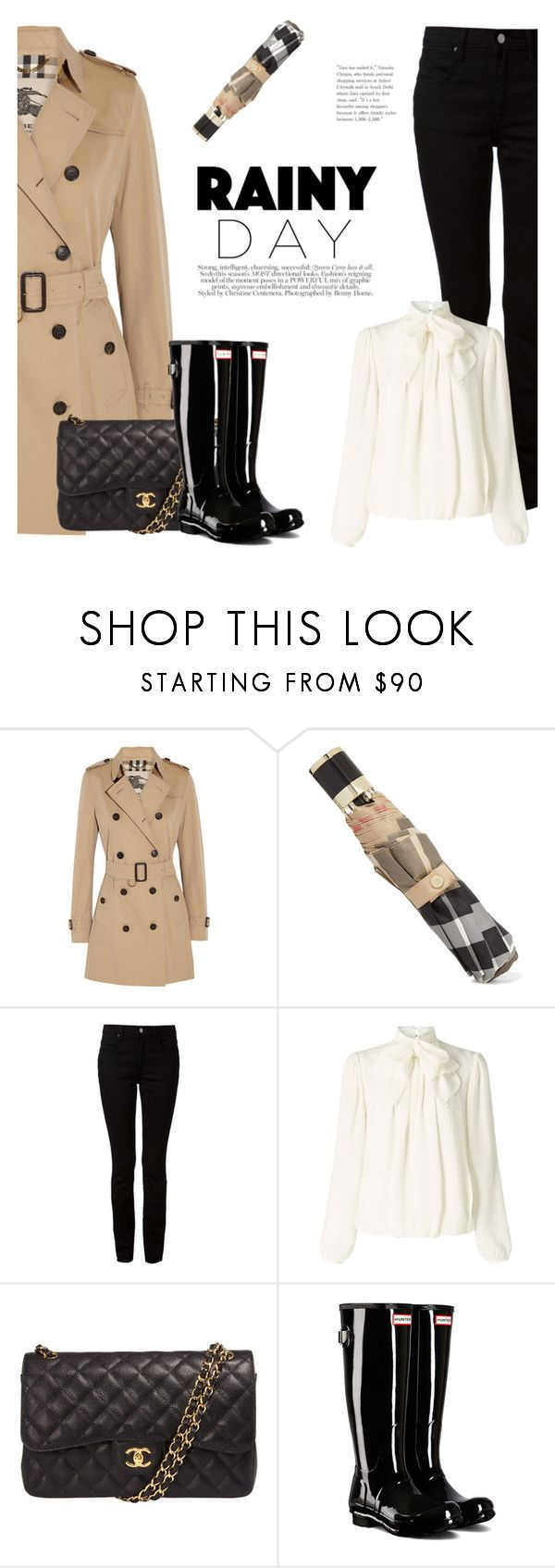 """Rainy Day Style"" by katsin90 ❤ liked on Polyvore featuring Burberry, T By Alexander Wang, Somerset by Alice Temperley, Chanel and Hunter"