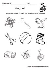 Science Worksheet For Kids To Circle The Attracted Thing ...