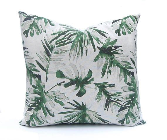 Palm Leaf Pillow Cover - Green Pillow Cover - Designer Pillows - Basketweave Pillow - Tropical Decor - Heavy Weight Flax - Sofa Pillow Cover by ...