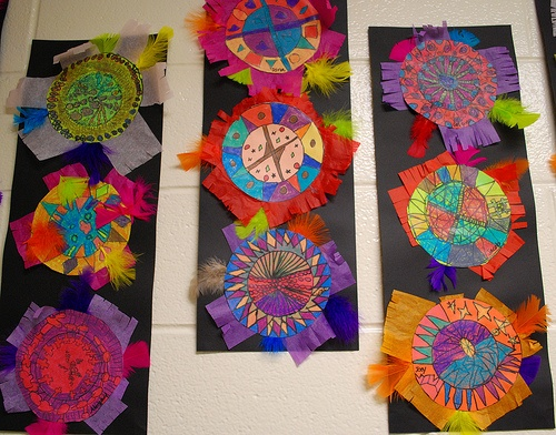 Aztec Feather Shields by paintedpaper, via Flickr