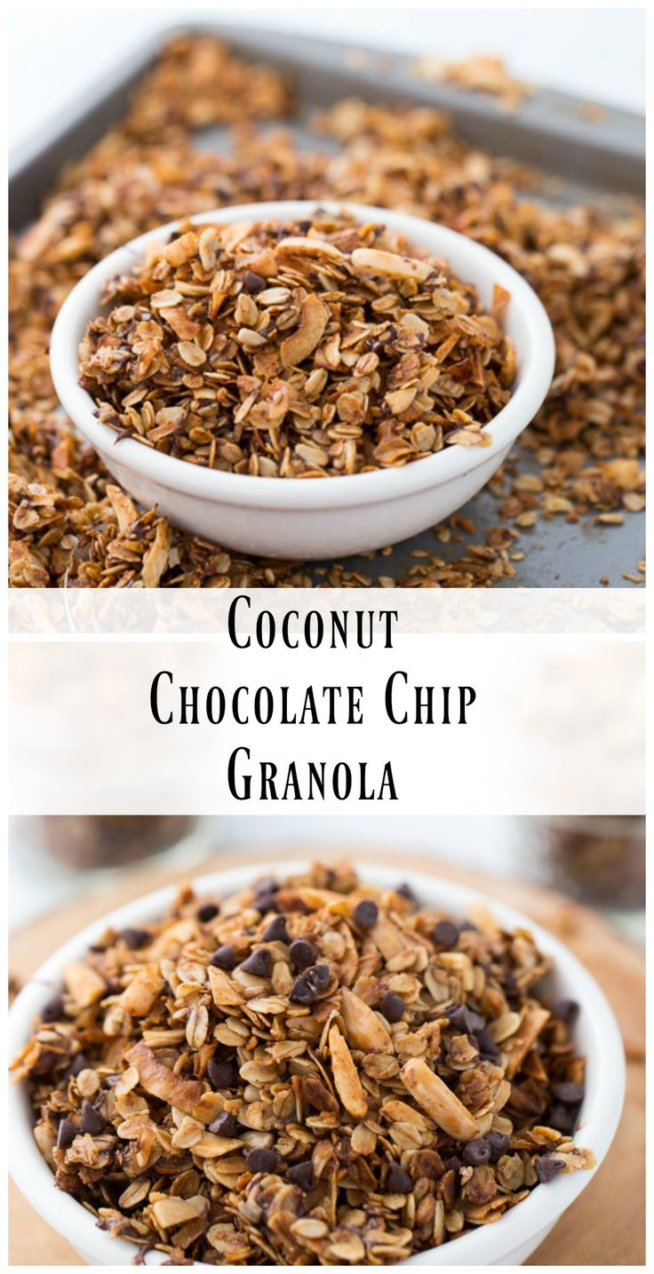 This homemade coconut chocolate chip granola is great for quick snacks ...