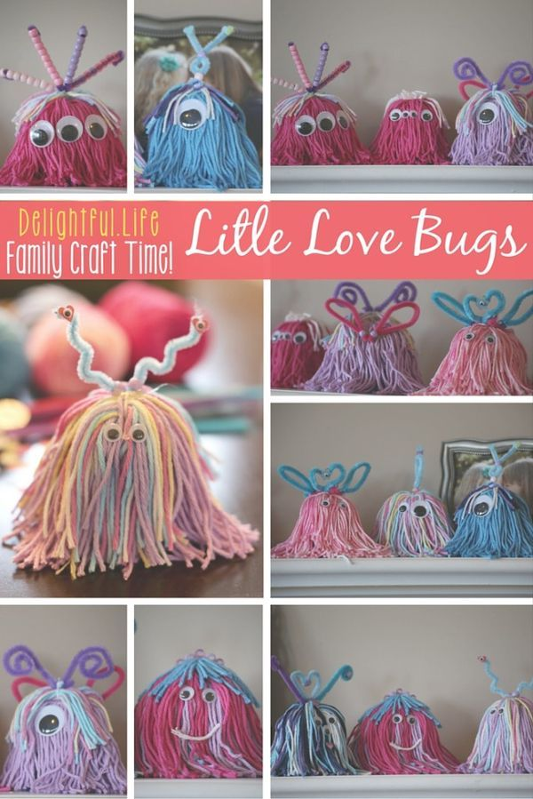 LITTLE LOVE BUGS? LOVELY LITTLE MONSTERS?  We couldn't decide what to call them, but we couldn't stop making these charming little critters! This is such a fun craft idea for the entire family. Some yarn and a few decorations and you've got yourself the perfect craft for Valentine's Day... or any day!