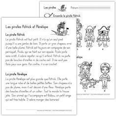 Fichier PDF téléchargeable En noir et blanc seulement 2 pages  Parmi les modèles de pirates donnés, l'élève encercle les pirates correspondants à Patrick et à Pénélope en fonction de la description qui est lue par l'enseignant(e) ou par l'élève lui-même. Patrick: b, Pénélope: a.
