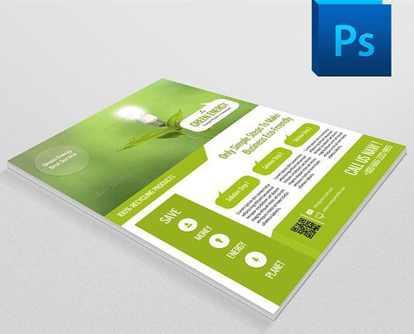 Green Energy Flyer Template-V23 | Shops, Green And Flyers