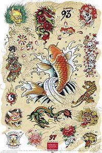 Ed Hardy Tattoo Poster Japanese Chart Koi Fish | eBay