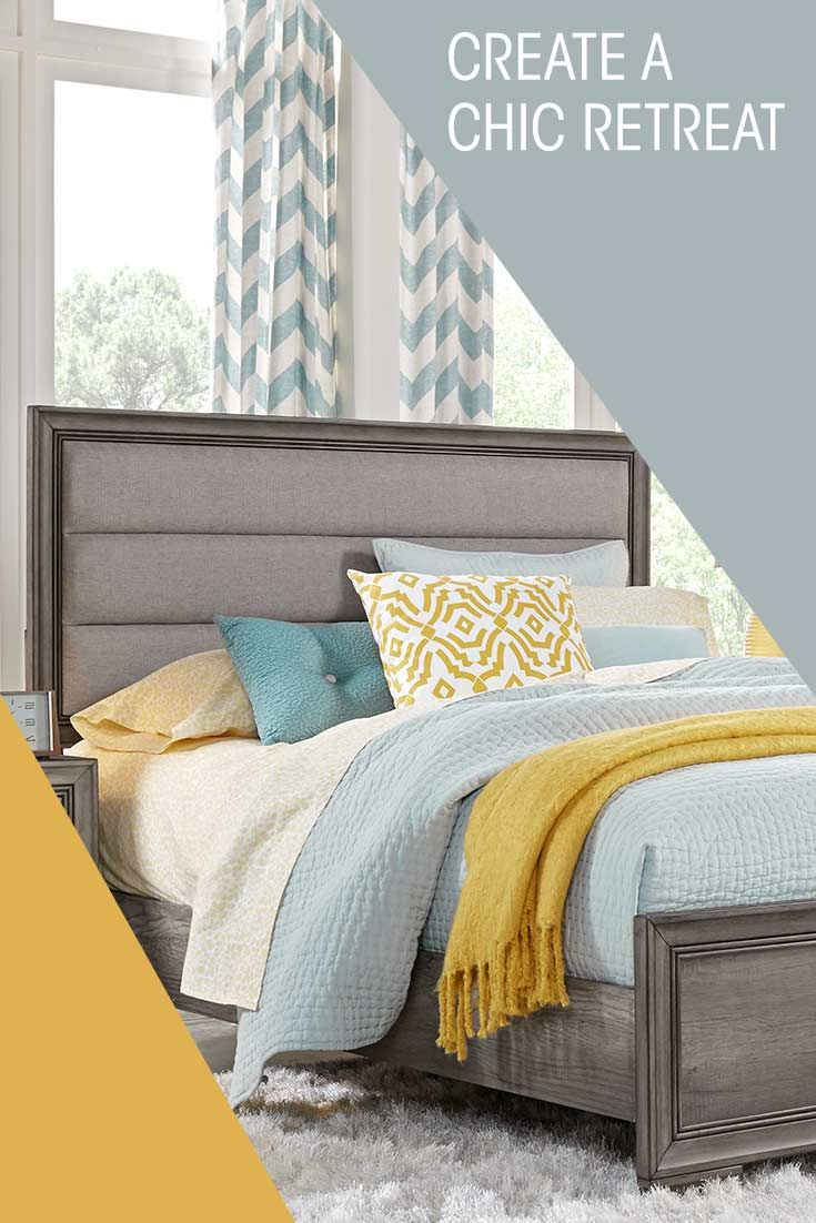 Create A Chic Retreat With The Marlow Gray Bedroom Your Next Home Is At Your Finger Tips Today Shop Now At Small Apartment Furniture Gray Bedroom Home Decor