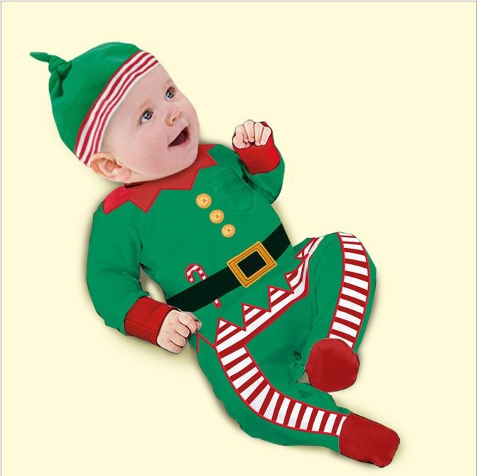 Christmas Baby Boys Rompers 2015 New Year Green X'mas Outfits With Foot Cap Suits Cute Baby Clothes Bebe Jumpsuits Overalls