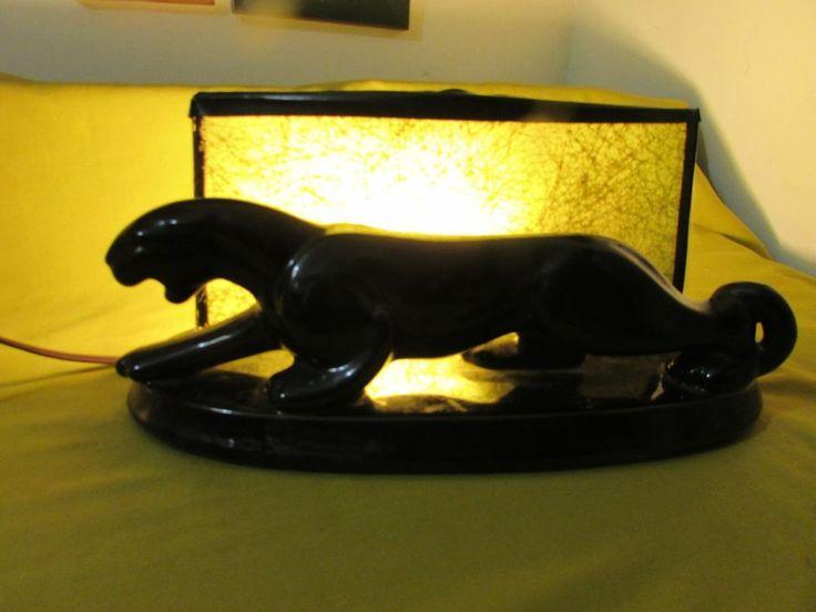 Vintage Retro Black Panther Ceramic TV Lamp,Black Panther TV Electric Light,COOL