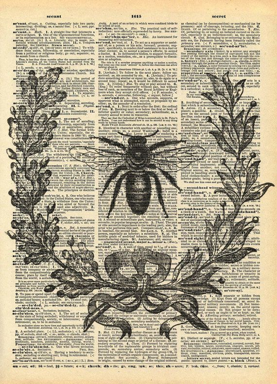 Vintage Book Print - Bumble Bee Wreath - Recycled Antique Dictionary Book Print - Insect Bug Honey Bee - Victorian Wreath Print - $10
