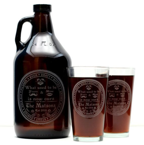 Custom HomeBrew Wedding set of 1 64oz Growler & 2 Glasses with Beer Names design. Homebrew, personalized, wedding gift