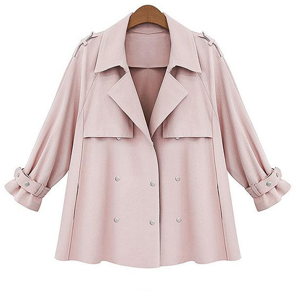 Yoins Plus Size Pink Autumn Buttons Blazer ($47) ❤ liked on Polyvore featuring outerwear, jackets, blazers, pink, plus size blazers, drapey blazer, drapey jacket, plus size pink blazer and blazer jacket