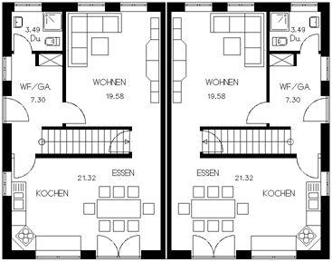 grundrisse f r doppelhaush lften planos pinterest house interiors and room. Black Bedroom Furniture Sets. Home Design Ideas