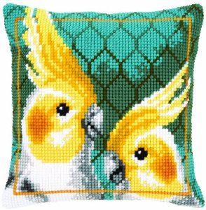 Vervaco Cockatiels Cross Stitch Cushion, Multi-Colour