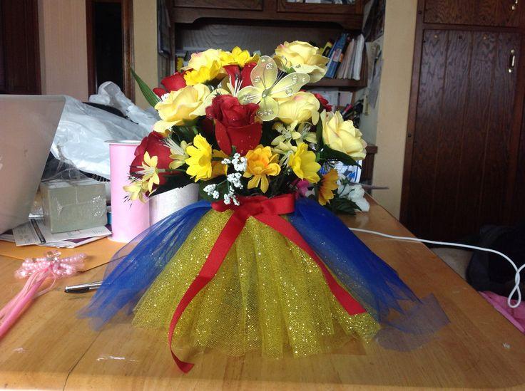 Snow White flower arrangement I made for princess baby shower