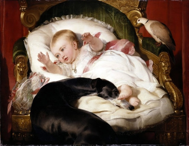 """""""Victoria, Princess Royal, with Eos"""" by Sir Edwin Landseer, 1841. Commissioned by Queen Victoria on the event of Prince Albert's Birthday. It is a painting by Sir Edwin Landseer. Eos is peacefully curled up with Victoria, Princess Royal. This tender scene shows the child to be alert and bright, her foot resting on the nose of the patient, loyal hound."""