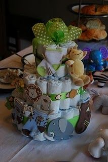 Safari Diaper Cake - learn how to make a pampers cake
