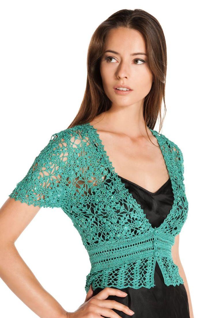 Crochetemoda: Casaqueto Verde de Crochet ~ Photos Only