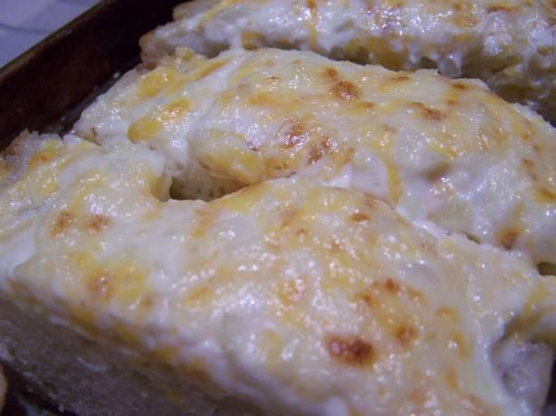 the best Garlic Bread with Mayo  Cheddar   This recipe is adapted from several recipes I've seen on the net. Absolutely decadent! Perfect with fresh pasta or could also be served as an appetizer.