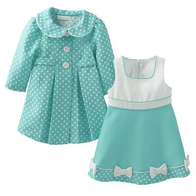 Bonnie Jean Polka-Dot Jacket & Dress Set - Baby Girl