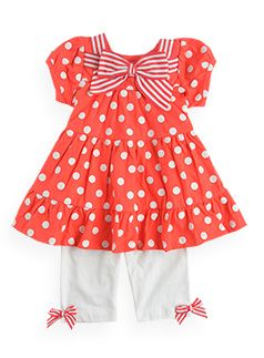 Baby Girl Clothes cute cute cute orange and white- polka dots and stripes