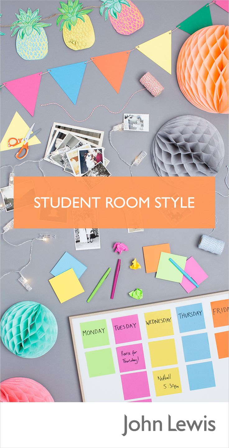 Personalise your Dorm Room or University Halls with colourful bunting, photographs and fairy lights to make your space more homely. Discover our range of decorations and soft furnishings to create a student sanctuary.