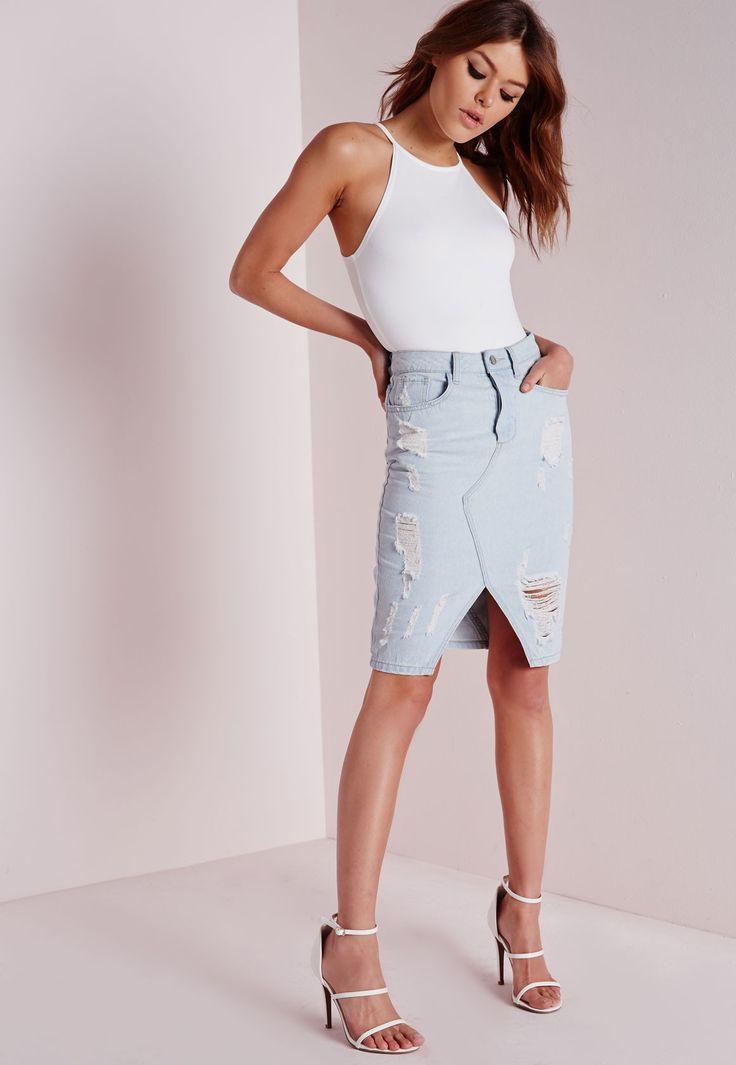 Ripped Midi Denim Skirt Pale Blue - Denim - Denim Skirts - Missguided