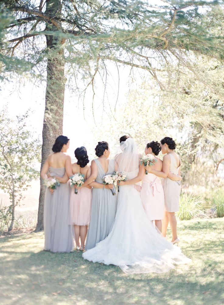 blush + grey bridesmaids dresses: Mix and Match Bridesmaids to Look Gorgeous | http://www.itakeyou.co.uk/wedding/mix-and-match-bridesmaids #bridesmaids