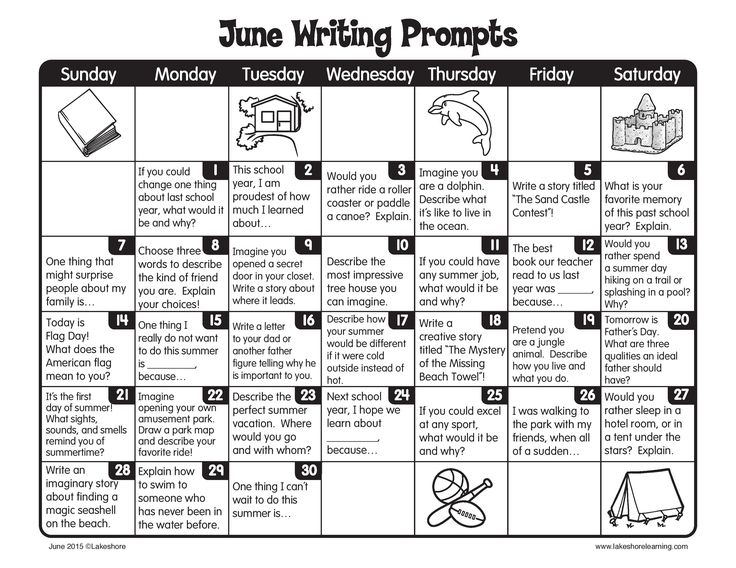 Keep writing through the summer with June Writing Prompts!