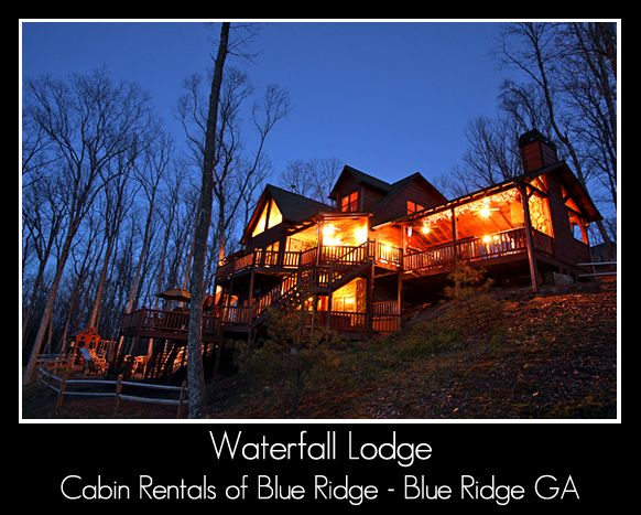 Waterfall Lodge Cabin - Five bedroom luxury rental cabin with mountain views in Blue Ridge Georgia