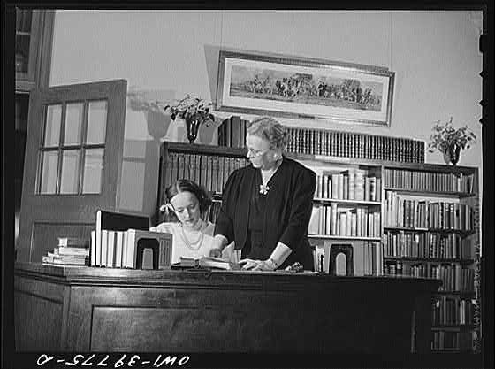 The school librarian and one of her student assistants at Woodrow Wilson High School, Washington D.C., 1943.