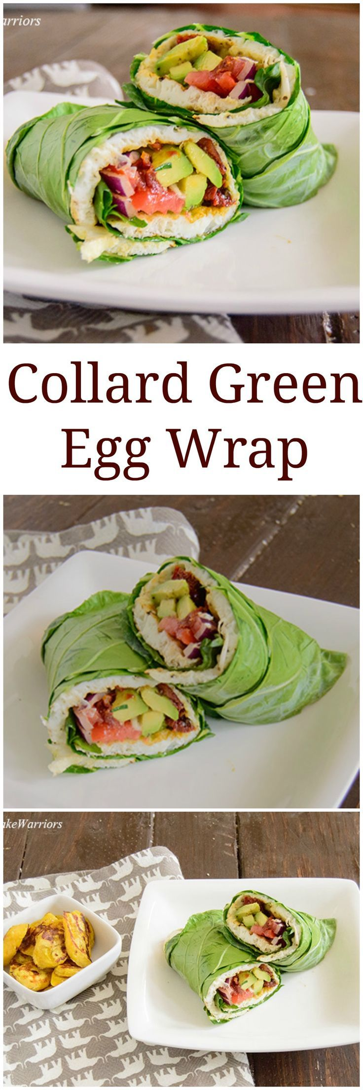 Egg White Collard Green Wrap - easy, healthy breakfast idea! Packed with protein, gluten free, low fat, full of flavor! A great way to get your veggies in!