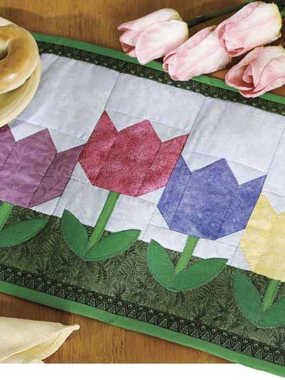 Quilting - Home Decor - Table Topper Quilt Patterns - Spring Tulip Place Mat Quilting Pattern - #FQ00138