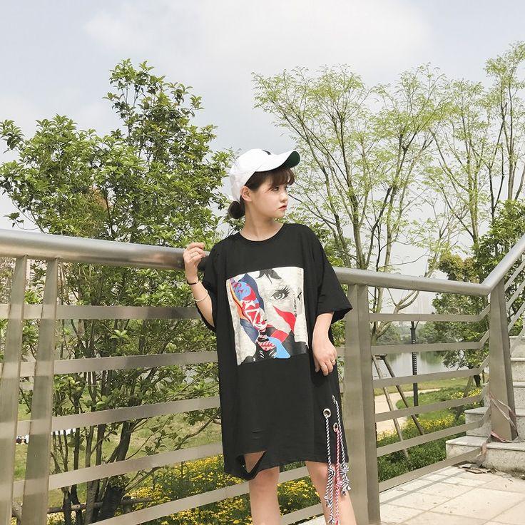 夏服 2017 レディース 春夏 半袖 Tシャツ 個性的 奇抜 POP 原宿系 ファッション 個性 派手 カワ 青文字系 トップス