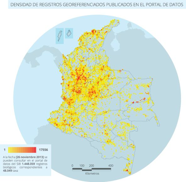 Mapa de densidad de registros biológicos (continentales) publicados a través del SiB