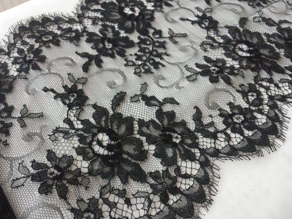 Black Lace Trim Sophie Hallette Lace Chantilly Lace French
