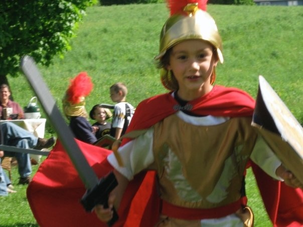 Roman Soldier costume I made for 7 year old. 2009