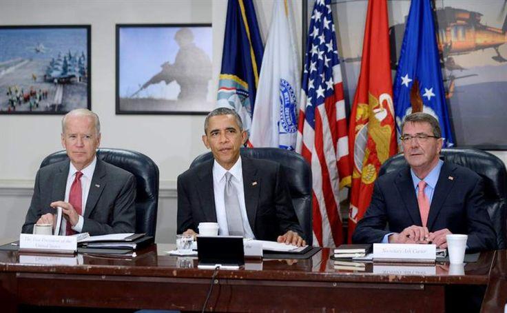 """John Biden: """"Recursos servirán para tomar medidas enérgicas"""" Plan Alianza para la Prosperidad ayudará a atacar pobreza e inseguridad en Honduras. El presidente estadounidense, Barack Obama, el secretario de Defensa, Ash Carter, y el vicepresidente estadounidense, Joe Biden."""