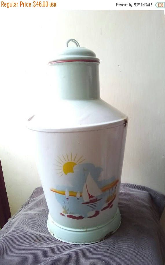 ON SALE 10% OFF Vintage white enamel water kettle with lake