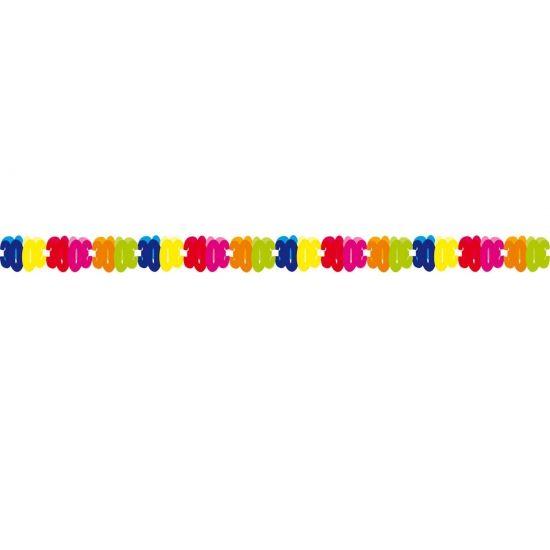 Papieren slinger 30 jaar. Gekleurde slinger voor een 30 jarige verjaardag. Deze papieren slinger 30 jaar is 6 meter lang.